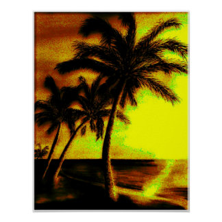 Coconut Palms at Sunset Poster