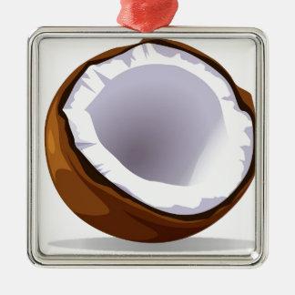 Coconut Silver-Colored Square Ornament