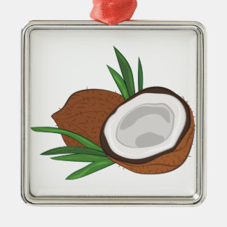 Coconut Silver-Colored Square Ornament