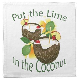 Coconut Tiki Bar Cocktail Paper Cloth Napkin