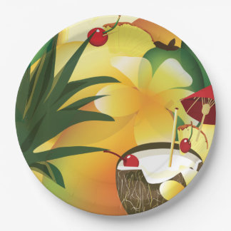 Coconut Tiki Bar Luau Tropical Paper Plate