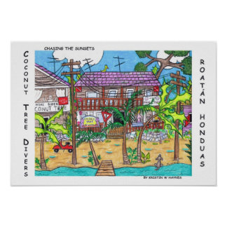 Coconut Tree Divers Poster