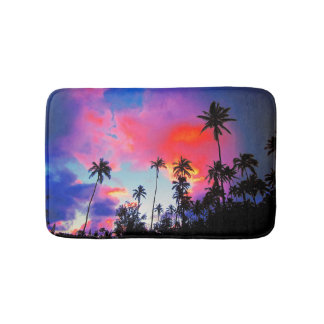 Coconut Tree Tropical Island Sunset Bath Mat