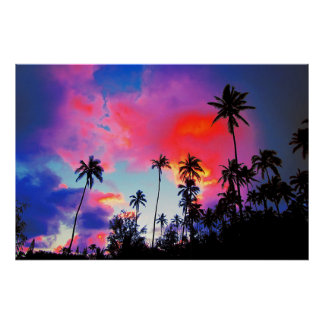 Coconut Tree Tropical Island Sunset Poster