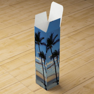 Coconut Trees against blue Sky Wine Boxes