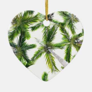 Coconut Trees Ceramic Heart Ornament