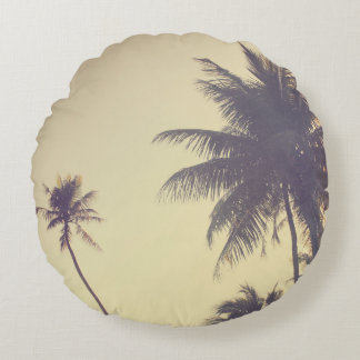 Coconut Trees Trendy Hipster Desaturated Summer Round Pillow