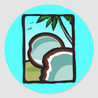 Coconuts and Palms Round Sticker