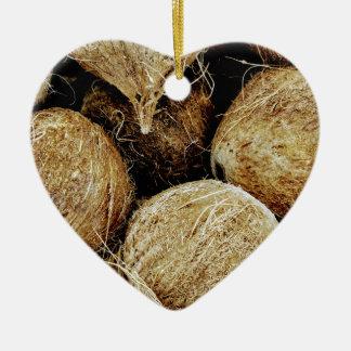 Coconuts Ceramic Heart Ornament