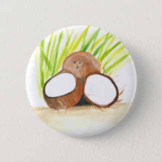 Coconuts fruits watercolour 2 inch round button
