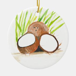 Coconuts fruits watercolour ceramic ornament