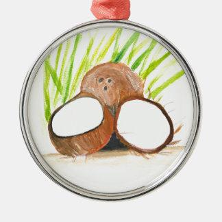 Coconuts fruits watercolour metal ornament