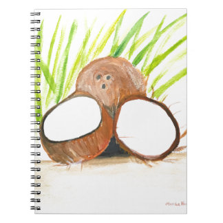 Coconuts fruits watercolour notebook