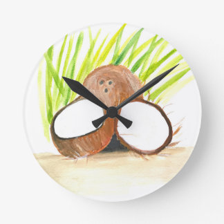 Coconuts fruits watercolour round clock