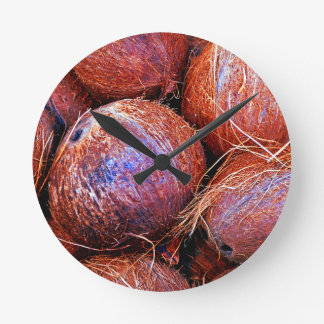 Coconuts In A Shell Round Clock