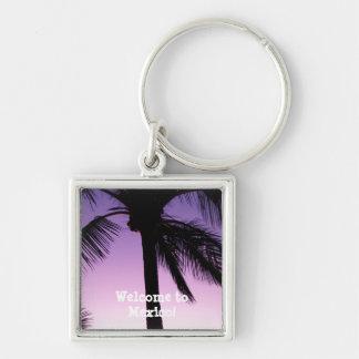 Coconuts in the Wind; Mexico Souvenir Silver-Colored Square Keychain