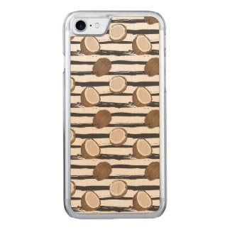 Coconuts on Grunge Stripes Pattern Carved iPhone 8/7 Case