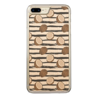 Coconuts on Grunge Stripes Pattern Carved iPhone 8 Plus/7 Plus Case