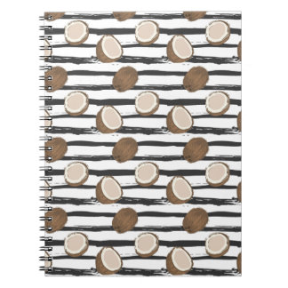 Coconuts on Grunge Stripes Pattern Notebooks