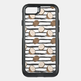 Coconuts on Grunge Stripes Pattern OtterBox Commuter iPhone 8/7 Case