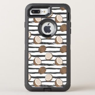 Coconuts on Grunge Stripes Pattern OtterBox Defender iPhone 8 Plus/7 Plus Case