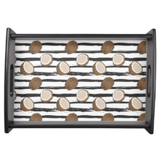 Coconuts on Grunge Stripes Pattern Serving Tray