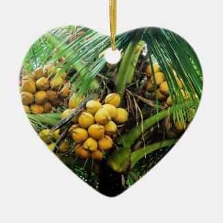 coconuts on the tree ceramic heart ornament