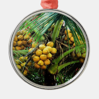 coconuts on the tree Silver-Colored round ornament