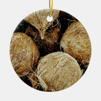 Coconuts Round Ceramic Ornament