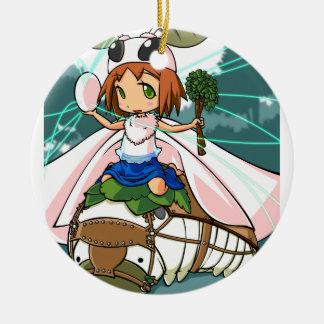Cocoon God! Silkworm English story Tomioka Silk Round Ceramic Ornament