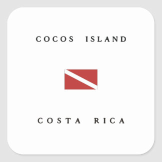 Cocos Island Costa Rica Scuba Dive Flag Square Sticker