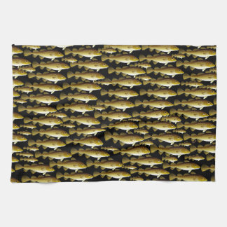 Cod Pattern on black Kitchen Towel