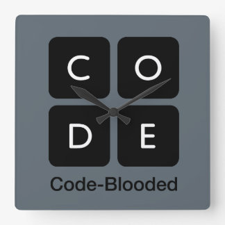 Code-Blooded Square Wall Clock
