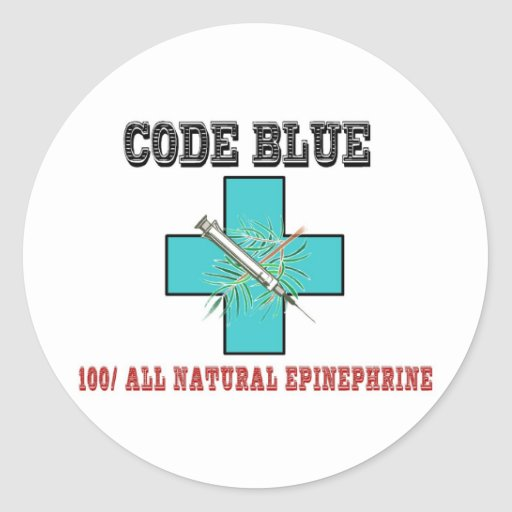 Code Blue 100% All Natural Epinephrine Stickers
