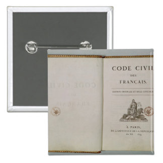 Code Civil, open at the titlepage, 1804 2 Inch Square Button