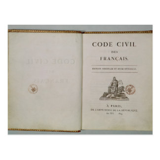 Code Civil, open at the titlepage, 1804 Postcard