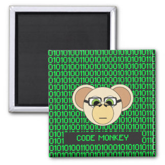 Code Monkey Cartoon Animal Programmer Coder Jungle Magnet