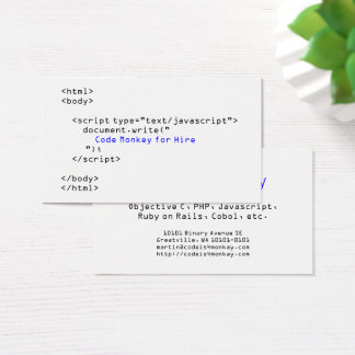 Code Monkey Javascript Business Card