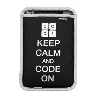 """Code.org """"Keep Calm and Code On"""" iPad Mini Sleeves"""