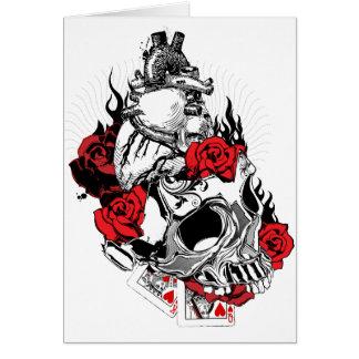 Coeur, crâne et roses - carte de Saint-Valentin