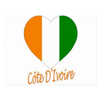 Coeur de drapeau de Cote D'Ivoire Cartes Postales