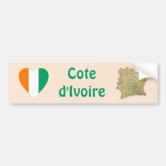 Coeur de drapeau de d'Ivoire de Cote + Adhésif Autocollant De Voiture