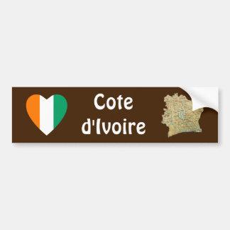 Coeur de drapeau de d'Ivoire de Cote + Adhésif pou Autocollant De Voiture