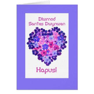 Coeur de jour de St Dwynwen des fleurs, salutation Carte De Vœux
