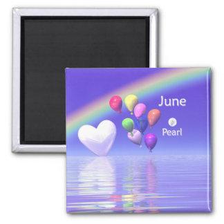 Coeur de perle d'anniversaire de juin magnets