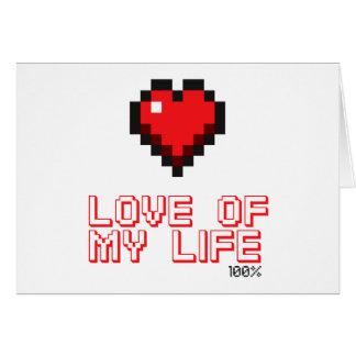"""Coeur de pixel """"amour Gamer de ma vie"""" Carte De Vœux"""