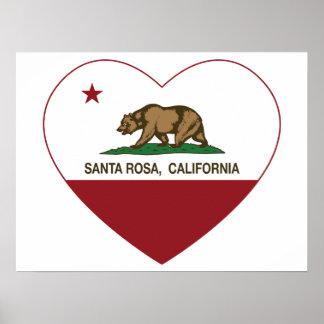 coeur de Santa Rosa de drapeau de la Californie Affiche