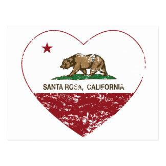 coeur de Santa Rosa de drapeau de la Californie Cartes Postales