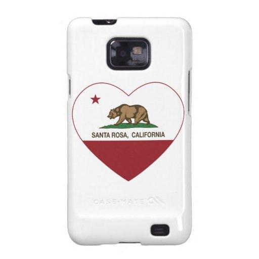 coeur de Santa Rosa de drapeau de la Californie Coque Samsung Galaxy S2