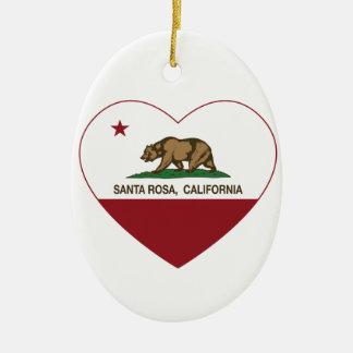 coeur de Santa Rosa de drapeau de la Californie Ornement Ovale En Céramique
